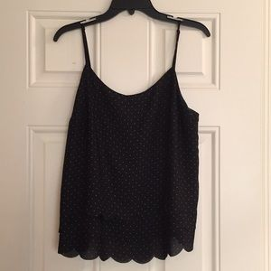 Scalloped polka dot tank top